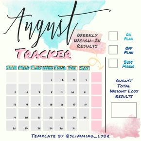 Square August Monthly Calendar Tracker